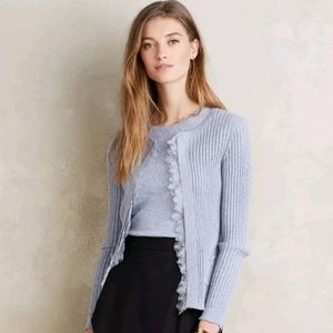 Anthropologie Knitted & Knotted Lace Trim Cardigan